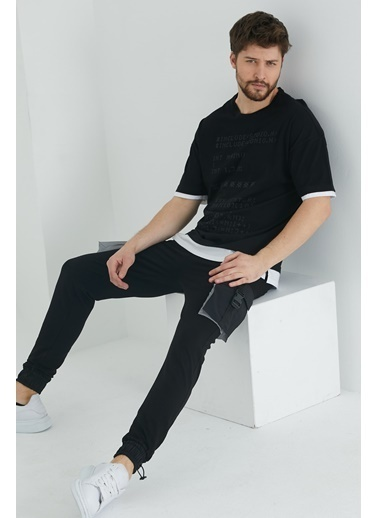 XHAN Eflatun Kabartma Baskılı T-Shirt 1Kxe1-44645-24 Siyah